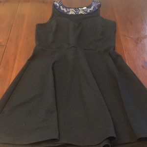 Black dress with bead and netting top detail
